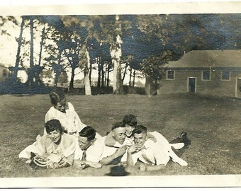 Vintage Edwardian Photo Adolescent Teenage Guys And Gals Roll Around On Ground Antique Photograph