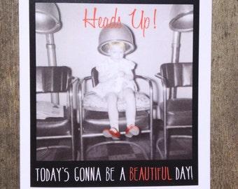 Greeting card #15, Celebration Card, Vintage beauty shop