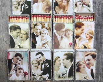 50 Custom Matchbox Wedding Favors- Vintage Style- 1920s Wedding