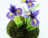Miniature Plants Polymer Clay Flowers Supplies for Dollhouse, Iris, 1 pcs