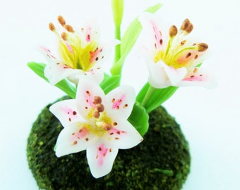 Miniature Plants Polymer Clay Flowers Supplies for Dollhouse, Lily, 1 pcs