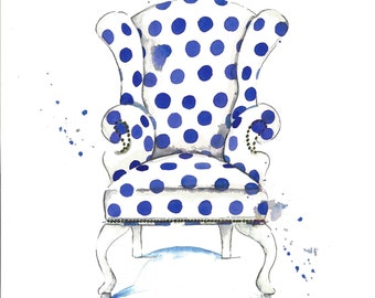 Watercolor Blue Chair Art Print-Chair Painting-Chair Wall Decor-Girls Room-Various Sizes