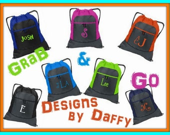 Monogrammed Personalized Cinch Bag Backpack Drawstring Sports Bag