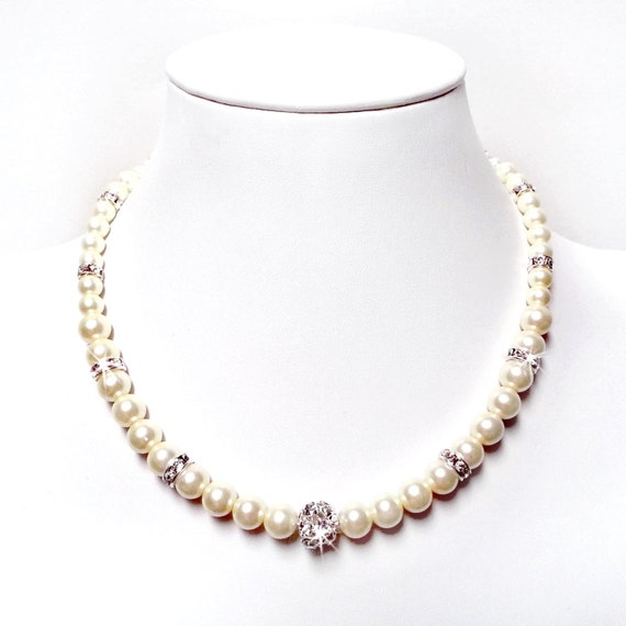 Classic Pearl Necklace with Rhinestones - Sterling Silver Box Clasp - Swarovski Crystal Rondelles and Fireball