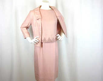 Vintage 60s Jackie O Three Piece Silk Suit, Seashell Pink, Sz S, M