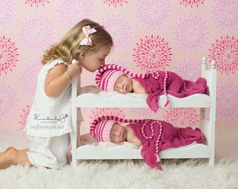 Newborn Babies Twins Photography Prop Posing Bunk Bed Mattresses and Ladder DIY Whimsical Photo Prop for Baby Pictures  Baby Shower Gift