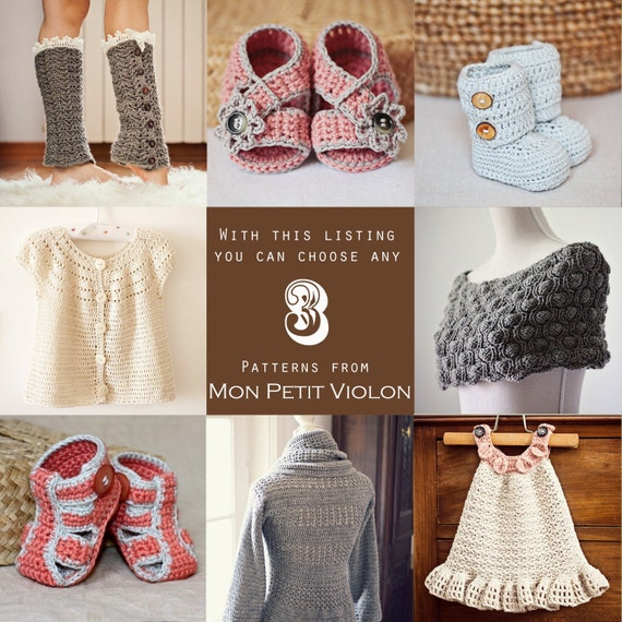 You choose any 3 patterns (crochet and knitting patterns)