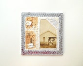 we sowed seed - hand stitched, vintage photo, antique linen, tea bag paper, garden seeds