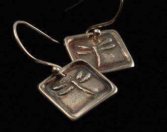 Framed Dragonfly Earrings - Fine Silver - .999% Pure Silver - Handmade Artisan Jewelry - Patina - Organic