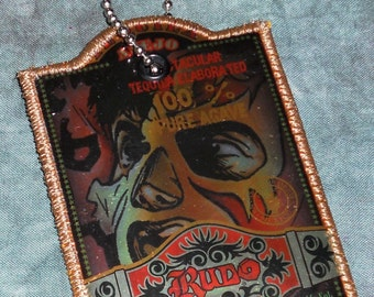 Luggage Tag from Recycled Rudo Anejo Tequila Label