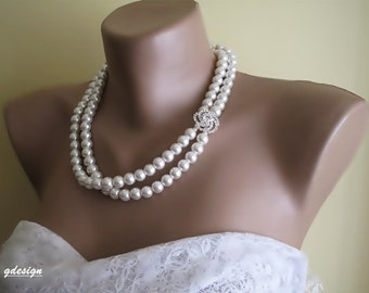 Bridal Peari, Wedding Pearl Necklace,  Rhinestone Brooch , Pearl  pendant