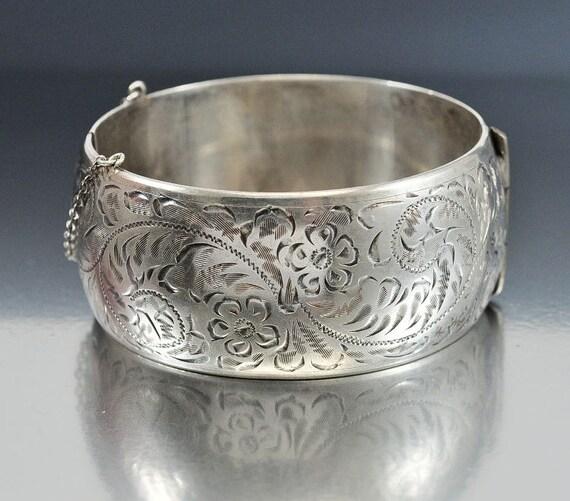 Vintage Wide Sterling Silver Bracelet Bangle Forstner Bracelet