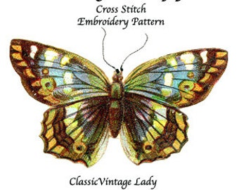 Vintage Butterfly  -  Cross Stitch. Digital Pattern