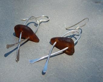 brown sea glass crossover earrings