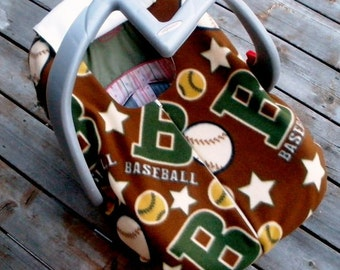 Vintage Baseball Baby Car Seat Cover for Winter, Cold Weather, Double Layer Fleece with Zipper