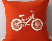 Pillow Cover Cushion Cover Accent Pillow - Mountain Bike - 16 x 16 inches - Choose your fabric and ink color