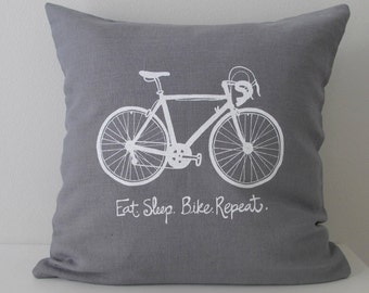 Pillow Cover - Road Bike - Eat sleep bike repeat - 16 x 16  inches - Choose your fabric and ink color - Accent Pillow