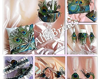 Peacock Wedding Teal Ring Pillow, Flower Girl Basket,  guest book, peacock feahers bridal garters, candles, flutes, cake set, 14 pieces