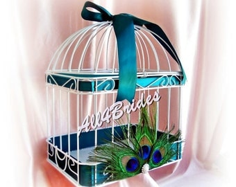 Peacock Feather Wedding Card Holder Box -  Teal Weddings - Peacock Birdcage Card Holder, Custom Ribbon Colors