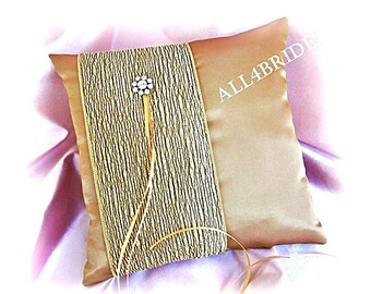 Weddings, Gold Ring Bearer Pillow, Gold Satin Ring Cushion.