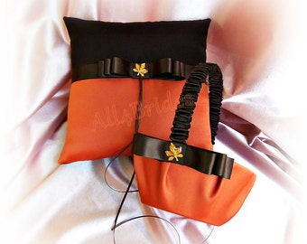 Fall wedding ring bearer pillow and flower girl basket in chocolate brown and burnt orange, ring cushion and basket set
