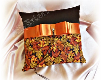 Fall Leaves Wedding Ring Bearer Pillow  -  Chocolate Brown - Burnt Orange - Persimmon - Olive Green - Gold