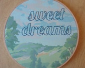 Embroidered Sweet Dreams on Scenic Paint by Number Fabric Hoop
