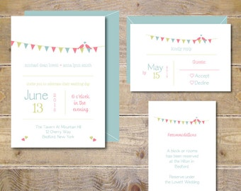 Love Birds Wedding Invitations .  Pennant Wedding Invites . Pennant Wedding Invitations . Banner Wedding Invitations - Pennant Kisses