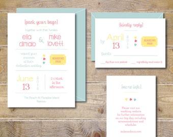 Destination Wedding Invitations . Destination Wedding . Beach Wedding Invitations . Destination Wedding Invites - Pack Your Bags