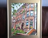 Brooklyn Painting Brooklyn Brownstone Original NYC Painting Architecture 16x20 Original Cityscape. NYC Urban Art. Gwen Meyerson
