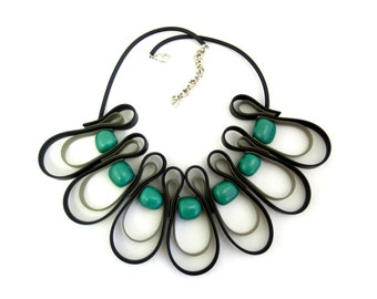 black, gray and green rubber necklace, urban fashion,