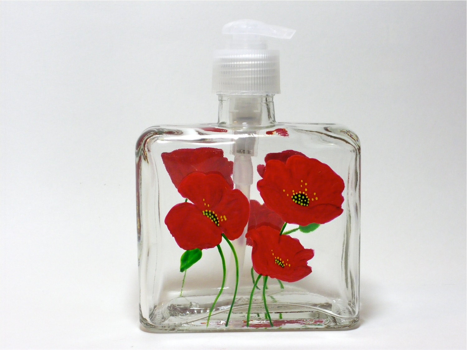 Soap Dispenser Hand Painted Red Poppies