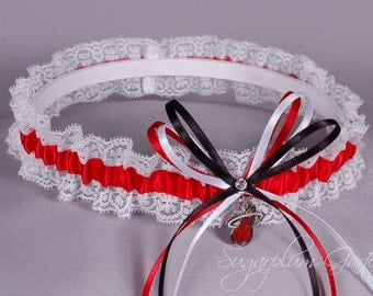 Miami Heat Lace Wedding Garter - Ready to Ship