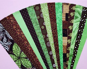 Brown Green Fabric Jelly Roll Quilt Strip Pack Cotton Quilting Fabric Die Cut No Dups