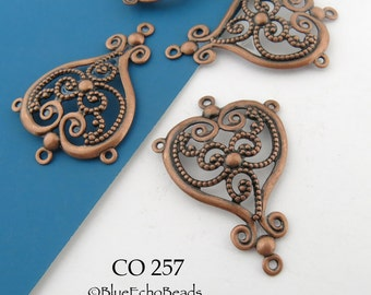 35mm Antique Copper Filigree Connector Pendant Open Work Lacy Scroll Connector  (CO 257) blueecho 4 pcs