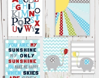 You are my Sunshine Elephant Alphabet Nursery Art  Print Set Baby Boy Room Decor
