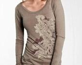 Women's Long Sleeve T-Shirt, Henna Art, Mehndi Floral Motif Top, Gift for Her