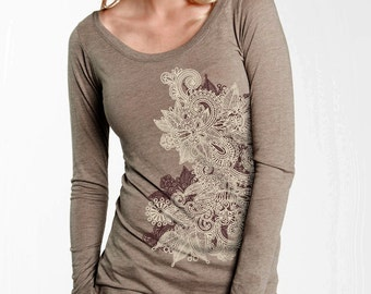 Women's Long Sleeve T-Shirt, Henna Art, Mehndi Floral Motif Top, Gift for Her