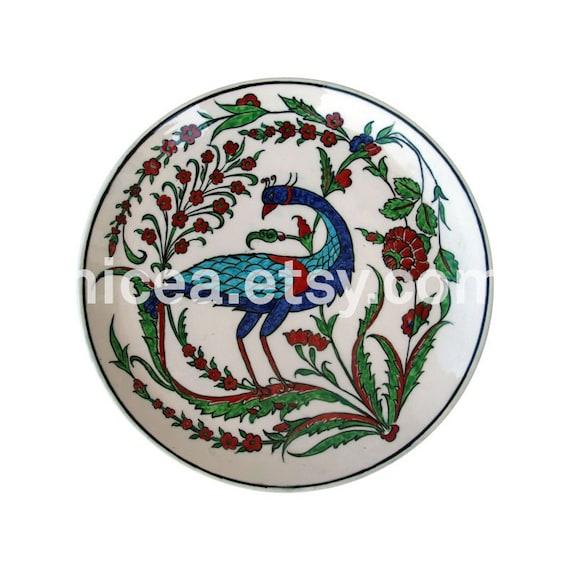 Rimless Iznik Pottery Dish with Bird - Handmade - Home Decor