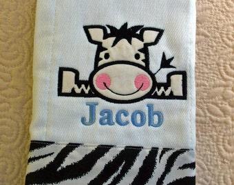 Boutique Custom Monogrammed Personalized Zebra Burp Cloth