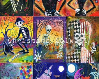 instant download  Day of the Dead Halloween printable art from original mixed media nine ACEO's