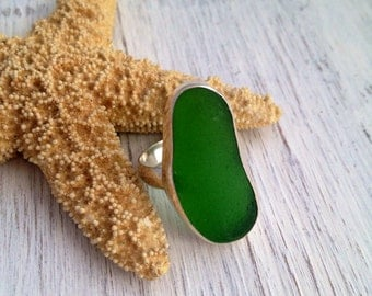 Sea Glass Ring  Kelly Green Sea Glass Rustic Sterling Silver