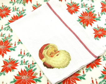 "Santa Claus Christmas Dish Towel with 1940's Santa Claus Image ""Christmas Card Dish Towel Collection"" Fab Stocking Stuffer & Kitchen Decor"