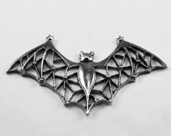 Web winged Bat, wings out, large size, pendant, 2 holes, Australian Pewter Af516