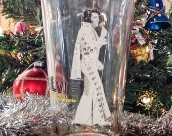 SALE Vintage 1970s Elvis Souvenir Glass Madison Square Garden MSG George Kalinsky