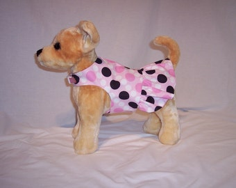 PET HARNESS DRESS With Pink and Black Polka Dot