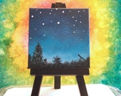Miniature painting, night sky with glow in the dark stars, and telescope. Small tabletop painting 3x3 inch square. Small art with easel