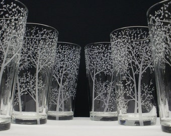 6 Pint Glasses Hand Engraved 'Branches and Leaves' Wedding Gift Woodland Bar ware Beer Glasses