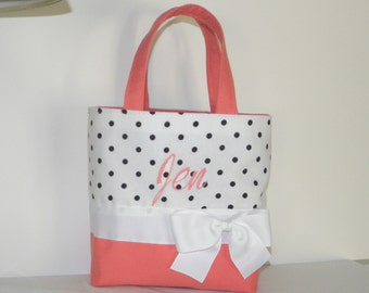Coral and Polka Dots Monogrammed/Personalized Tote, Purse, Bridesmaid Gift, Flower Girl, Weddign Gift, Bags, MoG, MoB, Multi Order