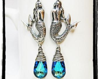 Antique Silver Mermaid and Bermuda Blue Swarovski Crystal Earrings